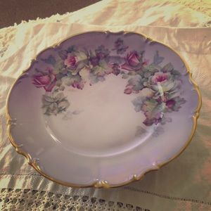 Vintage Signed and Hand Painted Transferware Plate